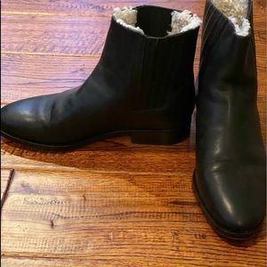 Jcrew sherpa fined leather shearing boots